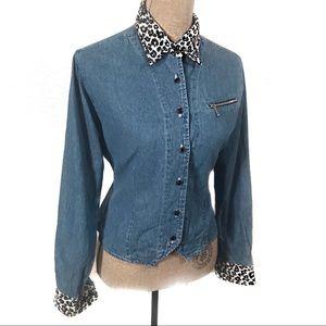 Vintage crop Bill Blass denim top blouse